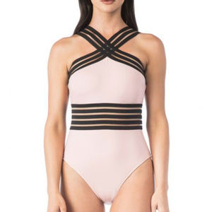 Kenneth Cole Blush One Piece Hign Neck Swimsuit
